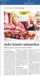 Bericht im Kölner Stadtanzeiger am 29.09.2015
